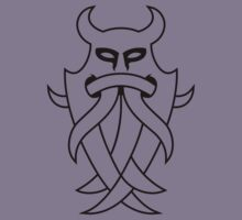 Odin's Mask Tribal (black outline) by MysticIsland