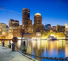 Boston skyline by night by Philip Kearney