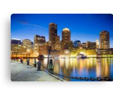 Boston skyline by night Canvas Print