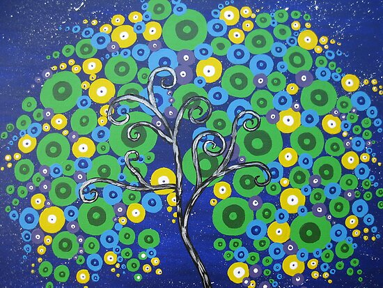 peacock tree with circle leaves by cathyjacobs