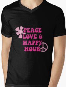 Peace Love and Happy Hour design for dark apparel Mens V-Neck T-Shirt