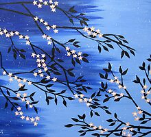 Cherry blossom peach / apricot and blue with snow flakes by cathyjacobs