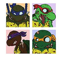 Classic 80s TMNT Shirt but with Zombies! Photographic Print