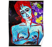 FULL MOON NUDE - acrylic, tempera, paper 18 x 24'' Poster