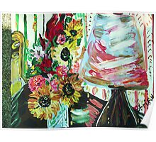 LAMP AND SUNFLOWERS - 2 - acrylic, tempera, paper 22 x 28'' Poster