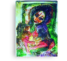GIRL IN A FUR COAT - acrylic, tempera, paper 18 x 24'' Canvas Print