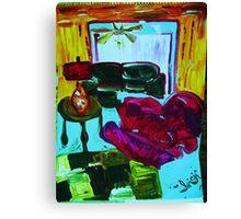 RECLINER IN A LIVING ROOM - acrylic, tempera, paper 22 x 28'' Canvas Print