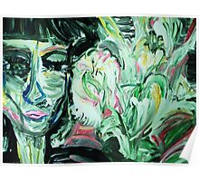 fragment of the picture LADY WITH A VISION - acrylic, tempera, paper 22 x 28'' Poster