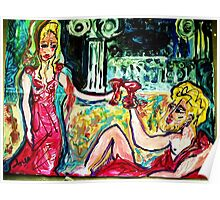 HELENA AND BACCHUS - acrylic, tempera, paper 36 X 48''  Poster