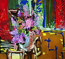 LILAC AT THE CORNER OF THE TABLE - acrylic, tempera, paper 22 x 28''8 by irishrainbeau