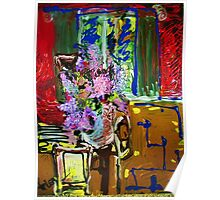 LILAC AT THE CORNER OF THE TABLE - acrylic, tempera, paper 22 x 28''8 Poster