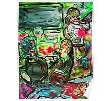 VIBRATIONS - tempera, acrylic, paper 18 x 24'' Poster