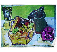 STILL LIFE WITH A PIGGY BANK - acrylic, tempera, paper 18 x 24'' Poster