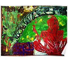 fragment of the picture MEDITATION IN THE GARDEN - acrylic, tempera, paper 22 x 28'' Poster