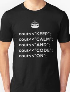 Keep Calm And Carry On - C++ - White Unisex T-Shirt