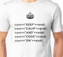 Keep Calm And Carry On - C++ - endl - Black Unisex T-Shirt