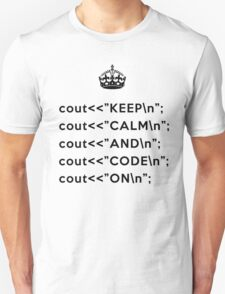 Keep Calm And Carry On - C++ - \n back - Black Unisex T-Shirt