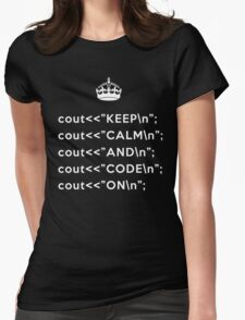 Keep Calm And Carry On - C++ - \n back - White Womens Fitted T-Shirt