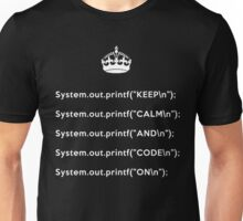Keep Calm And Carry On - Java - printf with \n back - White Unisex T-Shirt