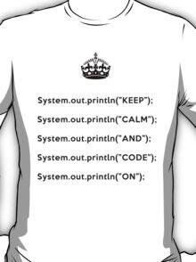 Keep Calm And Carry On - Java - println - Black T-Shirt