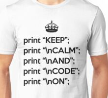 Keep Calm And Code On - Perl - \n front - Black Unisex T-Shirt