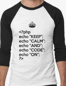 Keep Calm And Code On - PHP - Black Men's Baseball ¾ T-Shirt