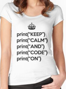 Keep Calm And Code On - Python - Black Women's Fitted Scoop T-Shirt