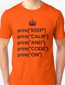 Keep Calm And Code On - Python - Black T-Shirt