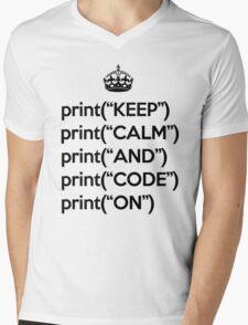 Keep Calm And Code On - Python - Black Mens V-Neck T-Shirt