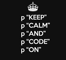 Keep Calm And Code On - Ruby - p - White Unisex T-Shirt