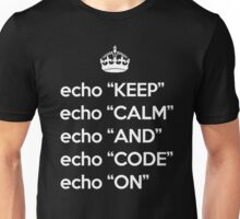 Keep Calm And Code On - Shell Script - White Unisex T-Shirt
