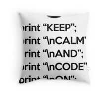 Keep Calm And Code On - Perl - \n front - Black Throw Pillow