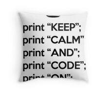 Keep Calm And Code On - Perl - Black Throw Pillow