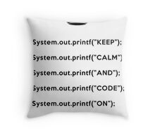 Keep Calm And Carry On - Java - Black Throw Pillow