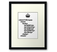 Keep Calm And Carry On - HTML - <p> - Black Framed Print