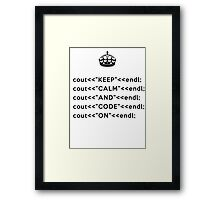 Keep Calm And Carry On - C++ - endl - Black Framed Print