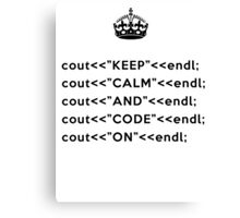 Keep Calm And Carry On - C++ - endl - Black Canvas Print