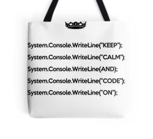 Keep Calm And Carry On - C#- Black Tote Bag