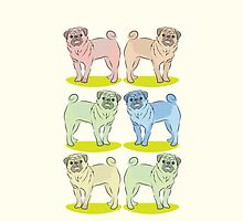 A set of six Pugs  by jazzydevil