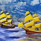 A digital painting of Two Ships of the Line Heading for Battle by Dennis Melling