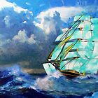 A digital painting of A Cloud of Sails on a Vintage Ship by Dennis Melling