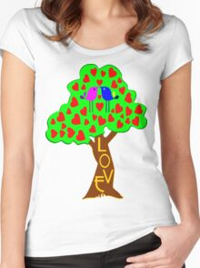 °•Ƹ̵̡Ӝ̵̨̄Ʒ♥Sweet Lovebirds Kissing on a Romantic Love Tree Clothing & Stickers♥Ƹ̵̡Ӝ̵̨̄Ʒ•° Women's Fitted Scoop T-Shirt