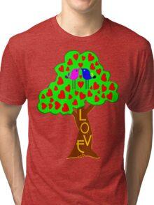 °•Ƹ̵̡Ӝ̵̨̄Ʒ♥Sweet Lovebirds Kissing on a Romantic Love Tree Clothing & Stickers♥Ƹ̵̡Ӝ̵̨̄Ʒ•° Tri-blend T-Shirt