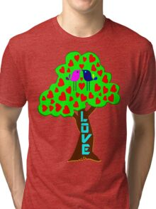 °•Ƹ̵̡Ӝ̵̨̄Ʒ♥Sweet Lovebirds Kissing on a Romantic Love Tree Clothing & Stickers♥Ƹ̵̡Ӝ̵̨̄Ʒ•° Tri-blend T-Shirt