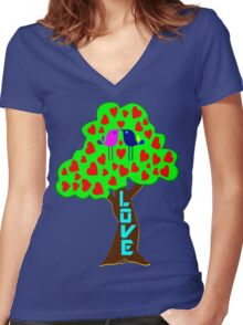 °•Ƹ̵̡Ӝ̵̨̄Ʒ♥Sweet Lovebirds Kissing on a Romantic Love Tree Clothing & Stickers♥Ƹ̵̡Ӝ̵̨̄Ʒ•° Women's Fitted V-Neck T-Shirt