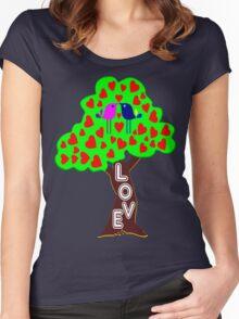 °•Ƹ̵̡Ӝ̵̨̄Ʒ♥Sweet Lovebirds Kissing on a Romantic Love Tree Clothing & Stickers♥Ƹ̵̡Ӝ̵̨̄Ʒ•° Women's Fitted Scoop T-Shirt