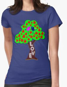 °•Ƹ̵̡Ӝ̵̨̄Ʒ♥Sweet Lovebirds Kissing on a Romantic Love Tree Clothing & Stickers♥Ƹ̵̡Ӝ̵̨̄Ʒ•° Womens Fitted T-Shirt