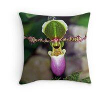 A Slipper Orchid Throw Pillow