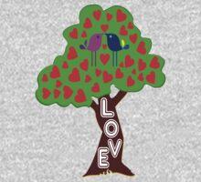 °•Ƹ̵̡Ӝ̵̨̄Ʒ♥Sweet Lovebirds Kissing on a Romantic Love Tree Clothing & Stickers♥Ƹ̵̡Ӝ̵̨̄Ʒ•° One Piece - Long Sleeve