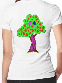 °•Ƹ̵̡Ӝ̵̨̄Ʒ♥Romantic Lovebirds Kissing on a Love-Tree Clothing & Stickers♥Ƹ̵̡Ӝ̵̨̄Ʒ•° Women's Fitted V-Neck T-Shirt